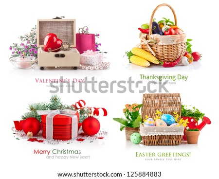 set of composition different holidays - stock photo