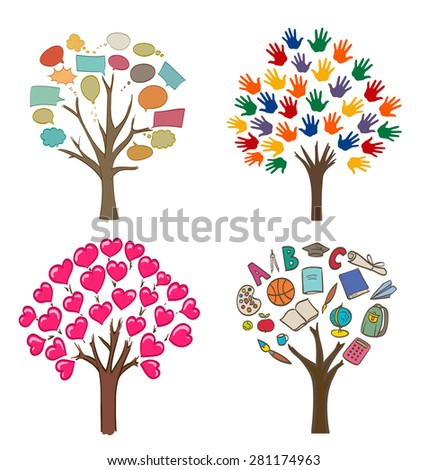set of conceptual drawings with trees, love, message, school and open hands variations - stock photo