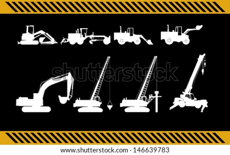 set of construction machinery equipment isolated  - stock photo