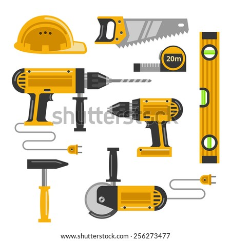 Set of construction tools flat icons. Saw, helmet, drill, screw gun and hammer and hacksaw - stock photo