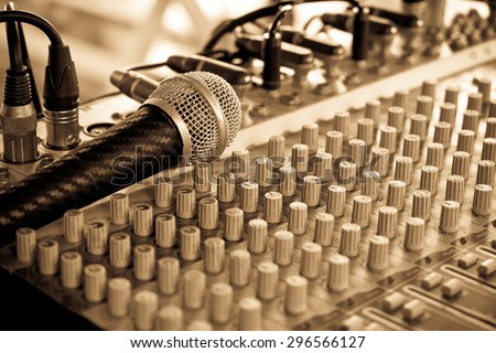Set of control sound for outdoor music,Retro style - stock photo