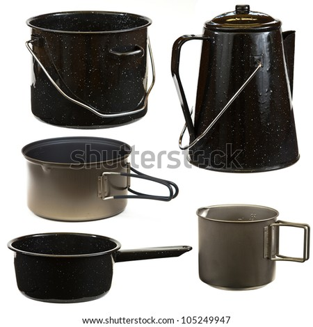 Set of cookware isolated on a white background. - stock photo