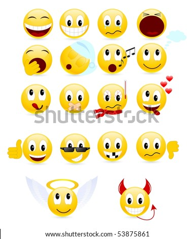 Set of cool smileys. Illustration, isolated on a white. - stock photo