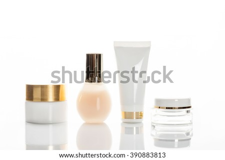 set of cosmetic bottles  isolated on a white background with space for text - stock photo