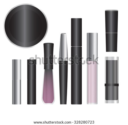 Set of cosmetic packages samples for product design - stock photo