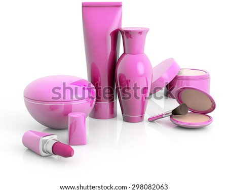 set of cosmetic products isolated on white - stock photo