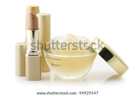 Set of cosmetic products isolated on white background. - stock photo