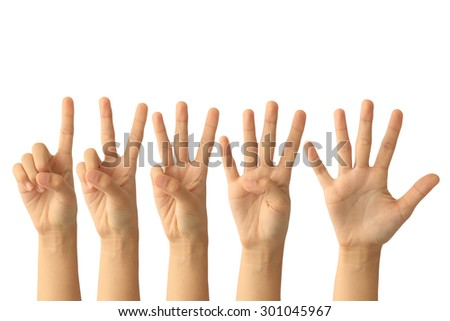Set of counting hand sign isolated on white background - stock photo