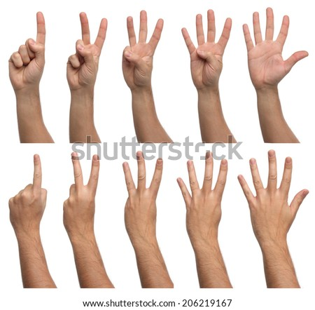 Set of counting hands isolated on white background - stock photo