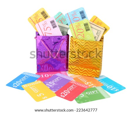 Set of coupons for shopping to save money isolated on white - stock photo