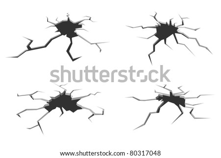 Set of cracks in ground isolated on white background for crash design. Vector version also available in gallery - stock photo