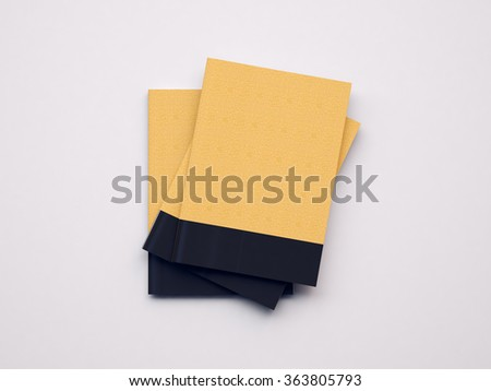 Set of craft notebooks on the white background. 3d render - stock photo