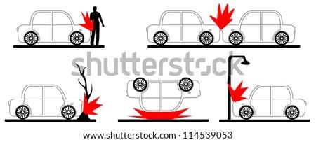 Set of crash car.  Raster version illustration. - stock photo