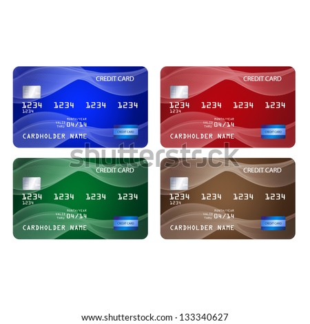 Set of credit cards in 4 different colors. Raster version of the loaded vector. - stock photo