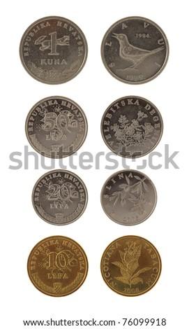 Set of Croatian Kuna coins isolated on white - stock photo