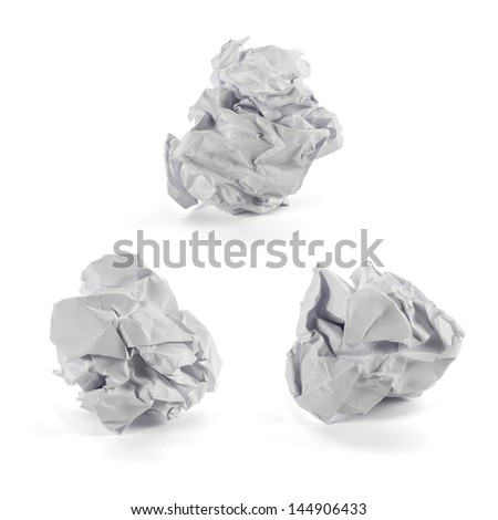 Set of crumpled paper ball isolated on white background - stock photo