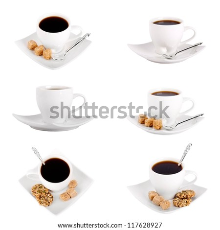 Set of cup of coffee with a silver spoon and brown sugar on a white background - stock photo