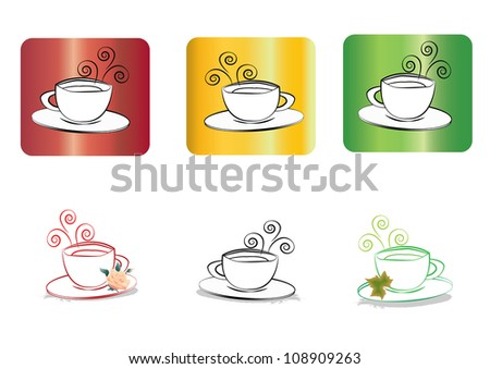 Set of cup of tea or coffee - stock photo