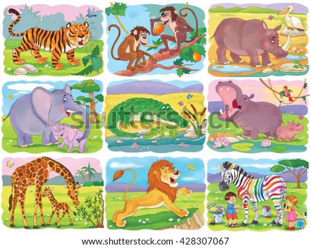 Set of cute African animals. Tiger, monkeys, rhinoceros, elephant, crocodile, hippo, giraffe, lion and zebra. Illustration for children. Coloring page. Funny cartoon characters. - stock photo
