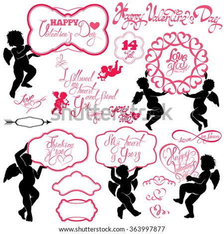 Set of cute angels, Calligraphic text Happy Valentine`s Day, hearts isolated on white background. Elements for holiday card design elements.  Raster version - stock photo