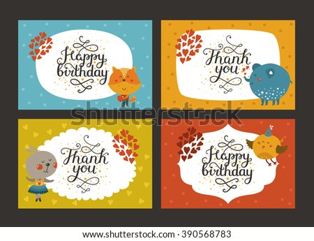 Set of Cute animal cards with lettering and baby animals in love. Fox, elephant, rabbit, bird. Greeting animal card, Thank you, Happy birthday - stock photo