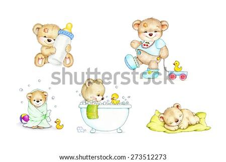 Set of cute baby Teddy bears - stock photo