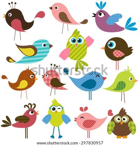 set of cute birds. Raster version - stock photo