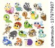 Set of cute cartoon insects - stock photo