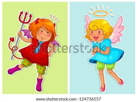 set of cute devil and angel (vector available in my gallery) - stock photo