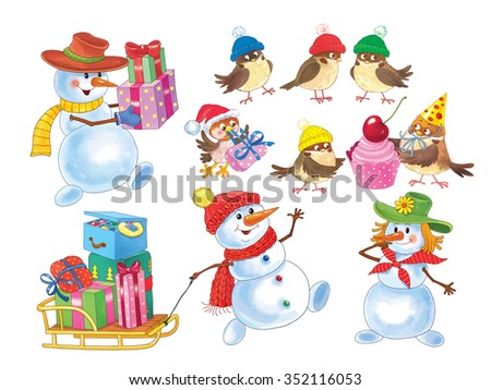 Set of cute funny birds, snowmen, gift boxes and Christmas presents isolated on white background. Cartoon character. Collection of funny characters.  - stock photo