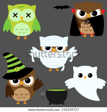 Set of cute owls in Halloween costumes. Raster version. - stock photo