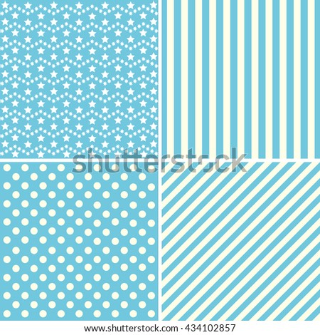 Set of cute patterns in blue colors. - stock photo