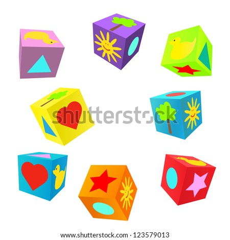 Set of 3D colorful childish play cubes - stock photo