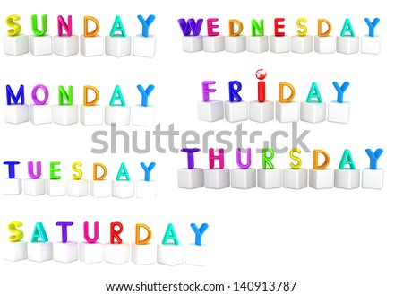 Set of 3d colorful cubes with white letters - days of the week - stock photo