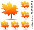 Set of 3D maple leaf discount labels isolated on white background. - stock photo