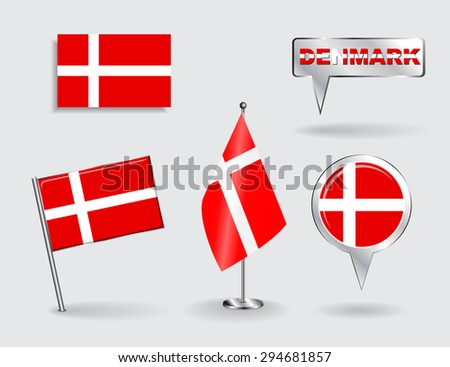 Set of Danish pin, icon and map pointer flags. Raster version - stock photo