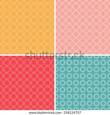 Set of decorative seamless patterns. Raster version - stock photo