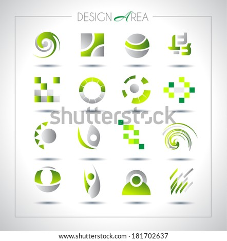Set of design elements for your project. Mixed abstract shapes with shadows - stock photo