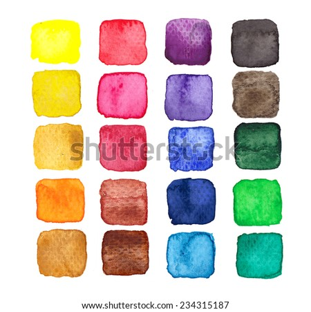 Set of design elements: hand painted multicolored watercolor squares isolated on white background - stock photo