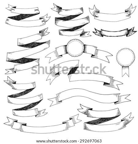 Set of design elements: ribbons - stock photo