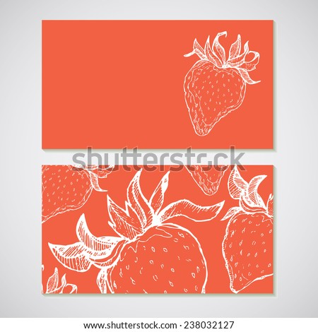 Set of 2 detailed business cards with strawberry sketch. For cafe and restaurant - stock photo