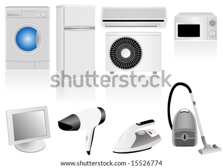 Set of detailed household electronic elements - stock photo