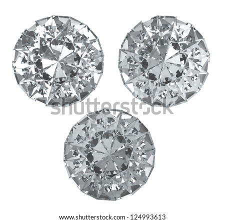 Set of diamonds on white BG - isolated with clipping path - stock photo