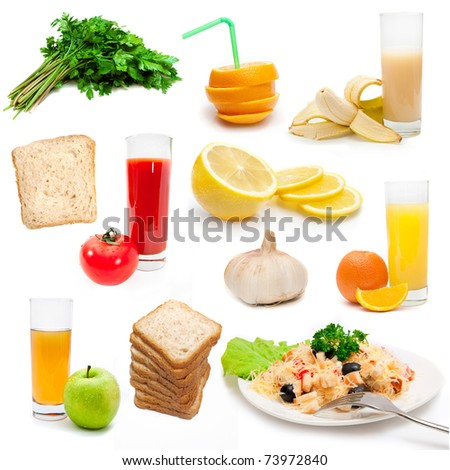 set of dietary bioproducts isolated on a white background - stock photo