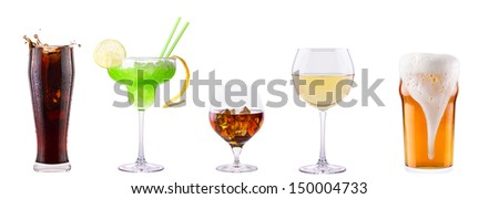 Set of different alcoholic drinks and cocktails - soda,cocktail,whiskey,wine,beer - stock photo