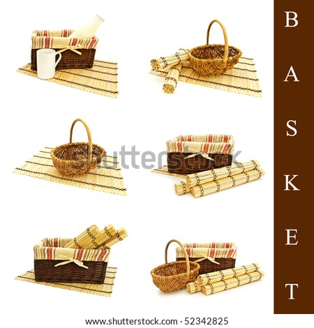 set of different basket over white background - stock photo