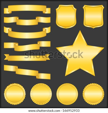 Set of different blank golden ribbons, shields, stars and badges - stock photo