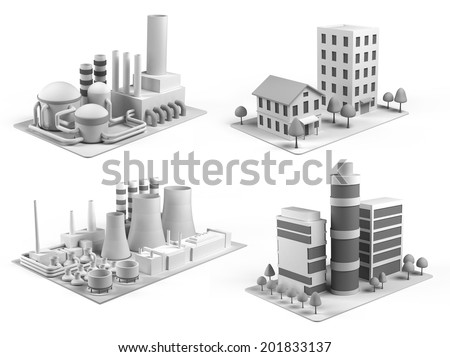 Set of different buildings, office center, powerhouse, factory and  dwelling house - stock photo