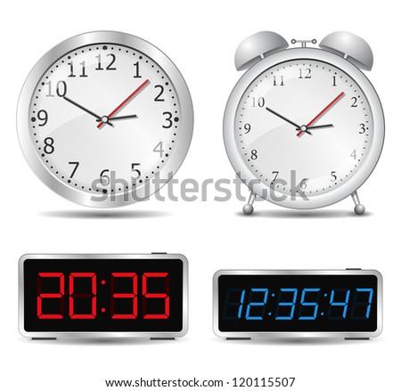 Set of different clocks - stock photo