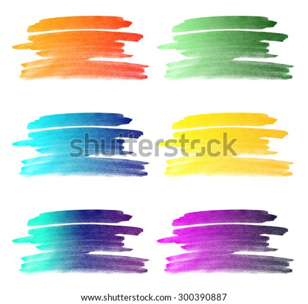 Set of different colored watercolor stroke backgrounds with gradients isolated on white background - stock photo